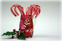Week 51: Red (Rokudan) Tags: christmas red white green glass leaves berries stripes holly cranberry candycanes lillyofthevalley rokudan themered sheyan 525of2010