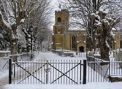 St Mary's in snow. (ArtGordon1) Tags: winter snow churchyard e17 stmaryschurch gravestones walthamstow walthamstowvillage davegordon davidgordon artgordon1 daveartgordon daveagordon davidagordon