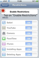 Step 5: Tap on Enable Restrictions
