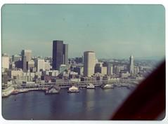 Downtown Seattle Skyline - 1975 (KurtClark) Tags: seattle skyline washington october ride helicopter 1975 wa elliottbay helicopterflight october1975