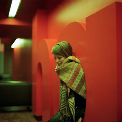 hall (kenny ip) Tags: portrait orange london 120 6x6 film scarf mediumformat hall kodak 66 barbican portra 800 josefine norita bigtype norita66 autaut 80mmf2 noritar kennyip