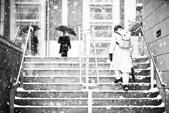 (shaymurphy) Tags: street ireland people dublin snow umbrella dof snowy steps blizzard macken nikond700 nikkor85mmf28