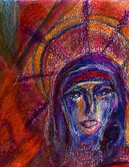 Saint Genevieve (Imajica Amadoro) Tags: portrait abstract art saint st painting drawing originalart vibrant pastel madonna icon draw genevieve handdrawn oilpastel neocolor stgenevieve vividcolor organicart artistsbooks saintgenevieve numinous mommsen analogart catherinelmommsen catherinemommsen