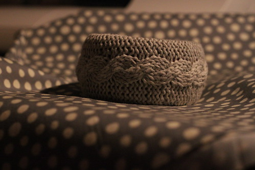 a knit covered bangle.