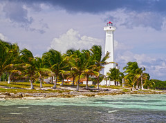 Costa Maya Lighthouse (Greg Weeks Photography) Tags: cruise blue trees houses light sea summer cloud costa sunlight lighthouse house seascape seaweed color colour tree green beach water colors sunshine clouds photoshop geotagged mexico outside outdoors photography bay coast daylight photo perfect colorful exposure lighthouses day waves ship colours photographer wind photos outdoor ships yucatan sunny palm coastal coastline daytime caribbean colourful beacons overlooking penninsula caribe worldtravel postprocessing caribisch