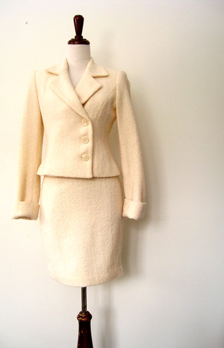 Creamsicle Wool Boucle Skirt Suit, Vintage 80's