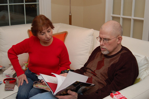 "Christmas 2010:  Grandma and Craig enjoying ""the scriptings."""