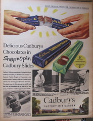 "Cadbury's ""Snap - Open"" chocolates - advert, 1955 (mikeyashworth) Tags: 1955 birmingham cadbury bournville advert everybodys cadburyschocolate everybodysweekly factoryinagarden mikeashworthcollection"
