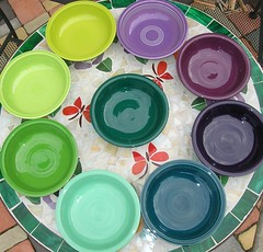 Fiestaware Purples & Greens (dumblady) Tags: green fiesta purple heather teal cereal chartreuse violet mint plum lilac evergreen lime bowls lemongrass shamrock fiestaware juniper seamist ware 7inch 19oz