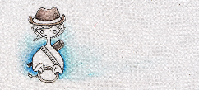 Simple handpainted pouch: Cowboy