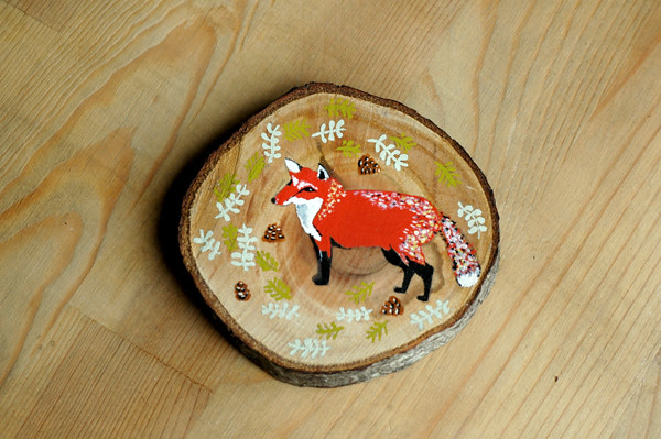 red fox wood slice 72