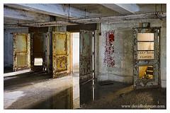 """keep door closed"" (statlerhotel) Tags: door light shadow sun abandoned water pool puddle office rust ruins doors post decay ruin gary 28mmf35pcais d700"