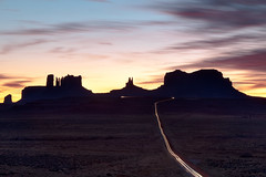Light Trails, Mile Marker 13 (SF knitter) Tags: light sunset utah long exposure dusk trails monumentvalley milemarker13