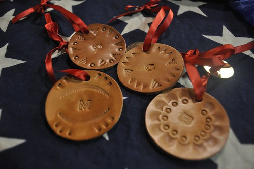 Monogrammed Leather stamped ornaments