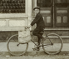 Boy on bicycle in front of the Burgh Meat Market, Etna Green, Indiana section (Hoosier Recollections) Tags: people usa signs history boys kids buildings advertising children clothing hats indiana bicycles transportation shops pedestrians storefronts businesses realphoto kosciuskocounty etnagreen hoosierrecollections