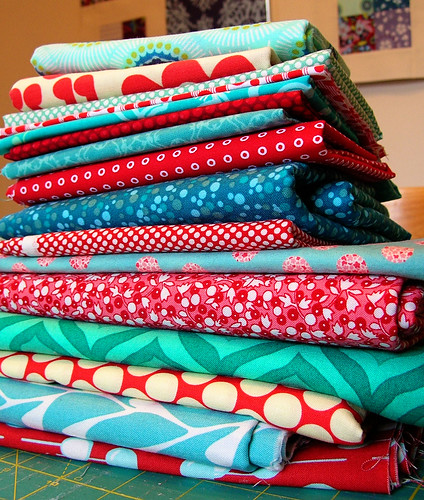 Stack of fabric for the new quilt