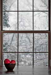 Evening Snowfall (:GRJohnson:) Tags: winter red stilllife snow home window fruit nikon knoxville depthoffield apples d90 55200mm flickrchallengegroup flickrchallengewinner anotherchallengegroup acg1stplacewinner grjohnson