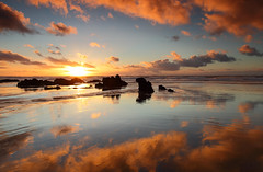 Winter burn (@Gking_photo) Tags: winter sunset sea england sky sun reflection beach water clouds canon landscape photography coast seaside sand rocks cornwall imac january coastal coastline westcountry canon1740mmf4l 2011 flickrexplore canon5dmkii