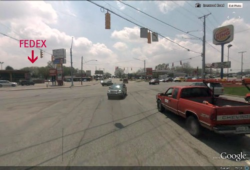 FedEx/Kinko's sits on the opposite corner (via Google Earth)