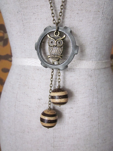 Owl Hardward Dangler Necklace