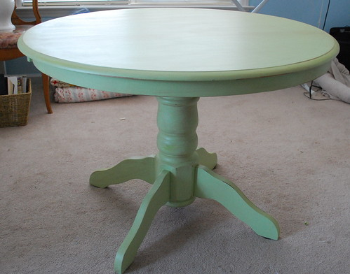 green pedestal table