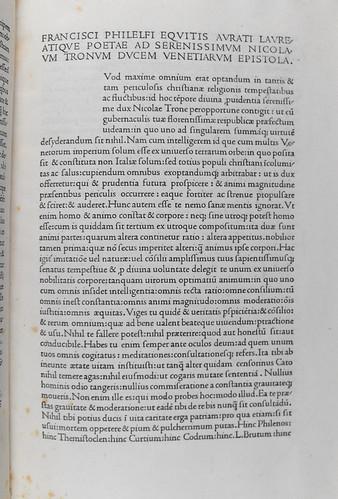 Beginning of Philelphus, Franciscus: Epistola ad Nicolaum Tronum