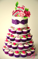 A bit of Sweet Rock 'n' Roll! (Bella Cupcakes (Vanessa Iti)) Tags: wedding roses green hearts purple rockabilly rocknroll hotpink cupcaketower rockabillywedding bellacupcakeswwwbellacupcakesconz rockabillycake