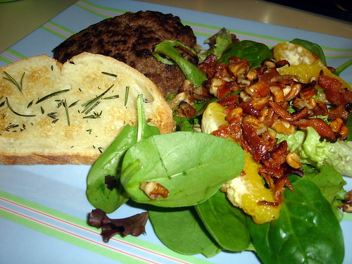 Burger, Salad, Bread