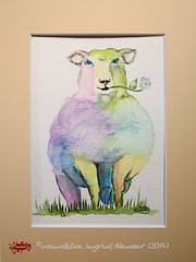 Schaf No.30 (wandklex Ingrid Heuser freischaffende Knstlerin) Tags: black colour ingrid water sheep drawing painter lamb schwarz multicolor bunt aquarel schwarzes schaf coulour schmincke heuser paintress mulitcoloured hahnemhle deichschaf wandklex wandkleks