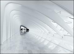 Milwaukee Art Museum - Arch Hall  ***Explored 10/3/16 #469 *** (NikonD3xuser1(Thanks for 1.6 million visits)) Tags: usa wisconsin milwaukee milwaukeeartmuseum monochrome blackandwhite people arches light hall nikon d810