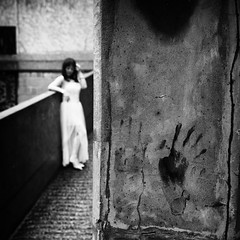 The color of regret~ Shanghai (~mimo~) Tags: 1933 architecture asia china hongkou mimokhairphotography shanghai slaughterhouse streetphotography woman hand print paint handprint