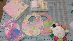 Baby Girl Gift Set (J Taylor Quilts) Tags: baby girl gift set selfbinding quilt diaper strap burp cloths bibs taggy smile sunshine toy cinderella disney princess