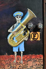 Skeleton Tuba Player Oaxaca Mexico (Ilhuicamina) Tags: dayofthedead mural art wallpaintings oaxacan mexico mexican calaca skeleton tuba musician skulls painting