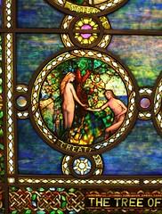 Tree of Life Window 1928-31, (detail) Morse Museum (ktmqi) Tags: morsemuseum louisctiffany stainedglass religious bible genesis nudeman nudewoman worldsfair exhibition tiffanystudios laureltonhall longisland