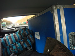 Tulip and luggage stuffed away in the back of the car (Dutch Robotics) Tags: dutch robot soccer tulip robotics humanoid tudelft robocup farnell dutchrobotics
