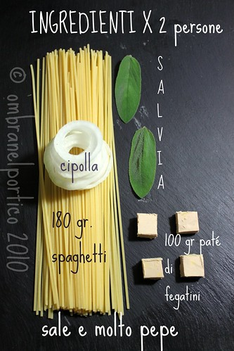 Ingredienti: spaghetti con fegatini