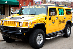 Here we go... (randeclip) Tags: city winter black cold gold football day pittsburgh pennsylvania pa views hummer humvee steelers truch