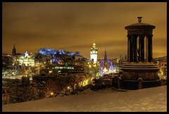 Auld Caledonia's Queen (Ian Foote) Tags: uk winter snow cold castle scotland edinburgh cityscape view capital scenic princesstreet bigwheel balmoralhotel citycentre caltonhill winterwonderland scottmonument helterskelter 5photosaday dugaldstewartmonument foturist