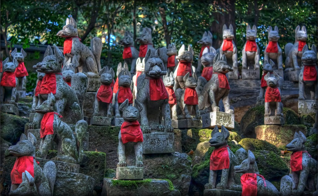 A whole bunch of foxes (kitsune) at one of the main Inari Shrines in Japan. I seem to have stumbled upon their meeting ground.