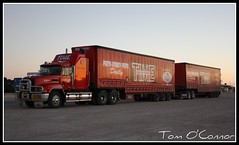 Time Road Express (Tom O'Connor.) Tags: road sunset train truck canon lens eos long village time south border under sydney twin australia down double journey perth nsw land wa trucks express kit resting sa straight mack 90 mile trucking 2010 nullarbor truckers 1000d