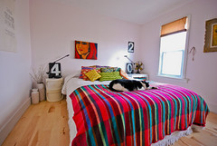 master bedroom, and lucky (kimhaseightcats) Tags: portrait art home wool station design blog bed bedroom interior stripes space room decoration gas canvas numbers blanket decor eclectic chenille artemide tizio coverlet componibili