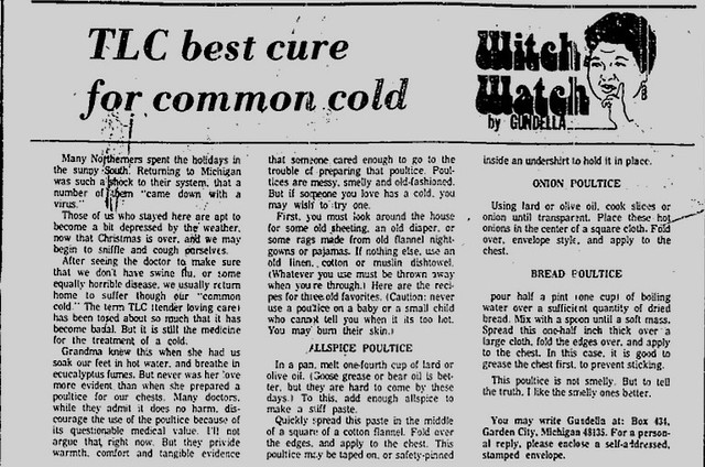Witch Watch: TLC best cure for common cold
