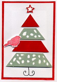 Xmas card bird in a tree