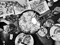 Pizza and fries (kevin dooley) Tags: blackandwhite bw food cheese dinner tomato table pepper restaurant ketchup sauce salt plate coke fork monotone frenchfries pop pizza fries appetizer chandler gluttony icetea softdrink catchup bjs panpizza deepdishpizza southwesterneggrolls chandlerfashionsquare orderoffries twoordersoffries spppon