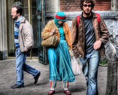 The lady in turquoise (A r l e t t e (reloaded)) Tags: street people woman man men amsterdam lady turquoise streetphotography leidseplein hdr arlette straat threepeople amsterdamhdr