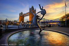 Girl and a Dolphin (James Neeley) Tags: sunset london towerbridge nikon hdr photomatix 5xp jamesneeley exposurefusion girlandadolphin