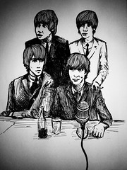 the beatles (emylouholmes) Tags: shadow music white black musicians illustration ink ties hair table 60s suits cola drawing top famous band line huge microphone beatles iconic mop coca mods