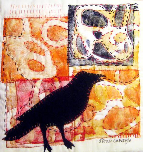 crow fiber art mono print