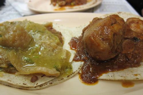 Tacos Carmelita: Chicharrón en Salsa Verde Tacos & Pollo en Adobo
