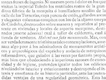 Opinión de Francisco Fernández González sobre el estado de la Mezquita de Tornerías publicado el 4 julio de  1887 en La  Ilustración Española y Americana